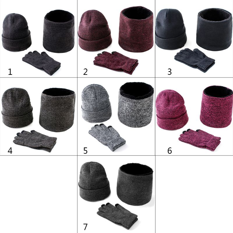 Men Women 3 Pcs Knitted Cuffed Beanie Hat Loop Scarf Touch Screen Gloves Set Thicken Plush Lining Cap Collar Neck Warmer Mittens