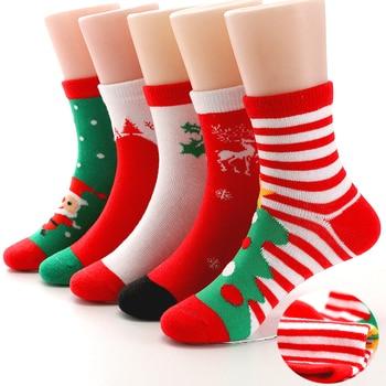 Autumn Winter Girls Boys Christmas Socks Baby Kids Child Gift Cotton Striped Terry Snowflake Elk Santa Claus Bear - discount item  38% OFF Baby Clothing