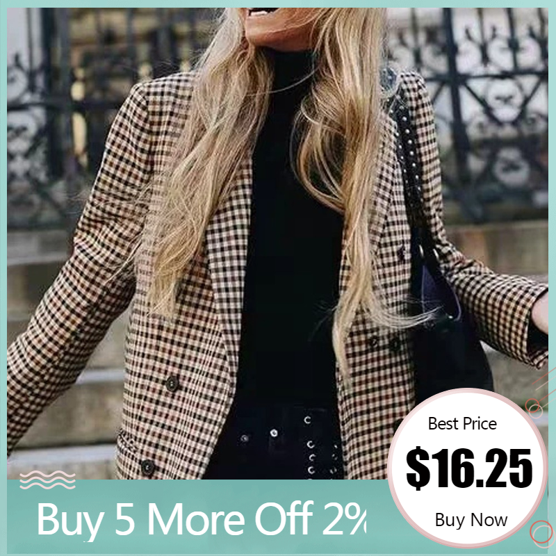 Blazer Coat Shoulder-Pads Retro-Button Female Plaid Women Casual Fashion with Jacket
