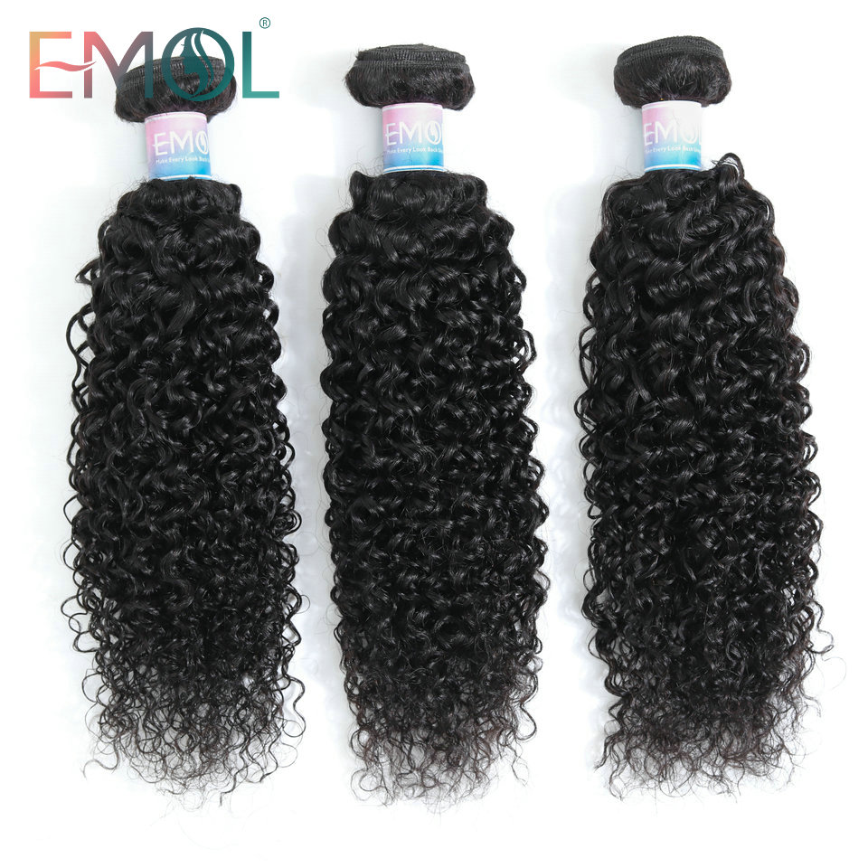 Emol Kinky Curly Hair Bundles Natural Color 1/3/4 Pcs Brazilian Hair Weaving Non-Remy 100% Human Hair Extensions