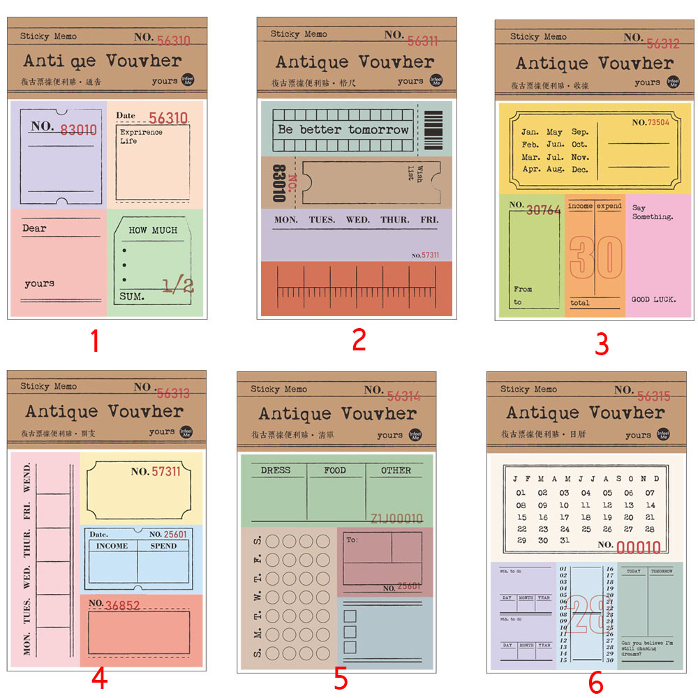 30 Sheets Retro Memo Notepad Sticky Notes Antique Ticket Series Scrapbooking Stickers Office School Stationery Message Card