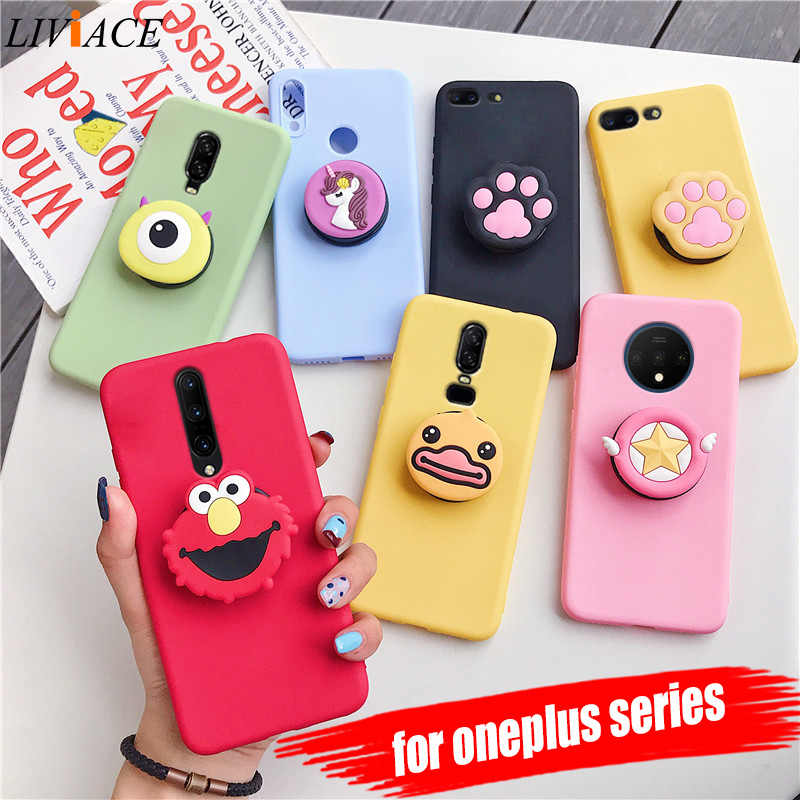 3D silicone cartoon phone holder case for oneplus 7 pro 5 5t 6 6t 7t cute stand soft tpu cover for one plus 7 7t oneplus7 fundas