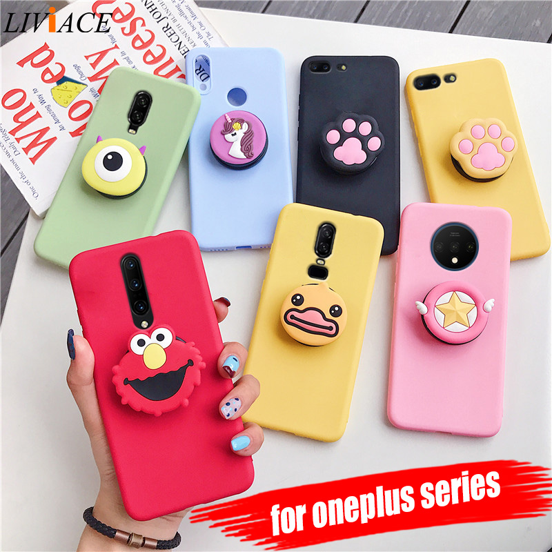 <font><b>3D</b></font> silicone cartoon phone holder <font><b>case</b></font> for <font><b>oneplus</b></font> 7 pro 5 5t <font><b>6</b></font> 6t 7t cute stand soft tpu cover for one plus 7 7t oneplus7 fundas image
