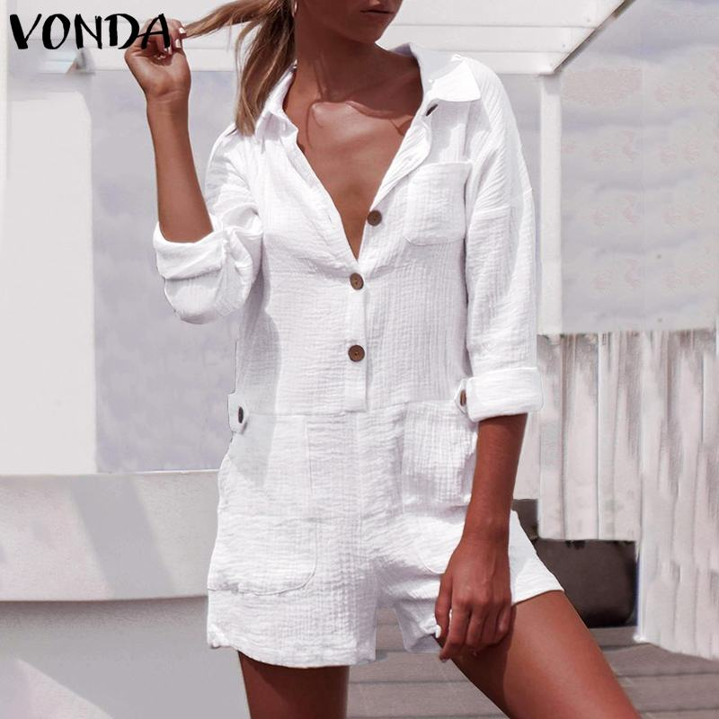 Sexy Rompers Womens Jumpsuits Casual Wide Leg Pants Ladies Beach Overalls Plus Size VONDA 2020 Buttons Shorts Party Playsuits