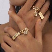 Панковские геометрические серебро Цвет металлические кольца