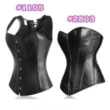 Corpete feminino com zíper frontal, corset corpete couro overbust cintura corpete