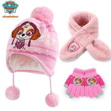 3pcs/set Genuine paw patrol hat glove scarf chase skye for boys girls puppy patrol children toy birthday gift doll free shipping
