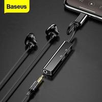 Baseus Audio Aux Adapter do iphone'a 11 Xs Max Xr X 8Plus podwójny słuchawki wtyczka słuchawkowa OTG kable do lightning konwerter Splitter w Adaptery do telefonów komórkowych od Telefony komórkowe i telekomunikacja na