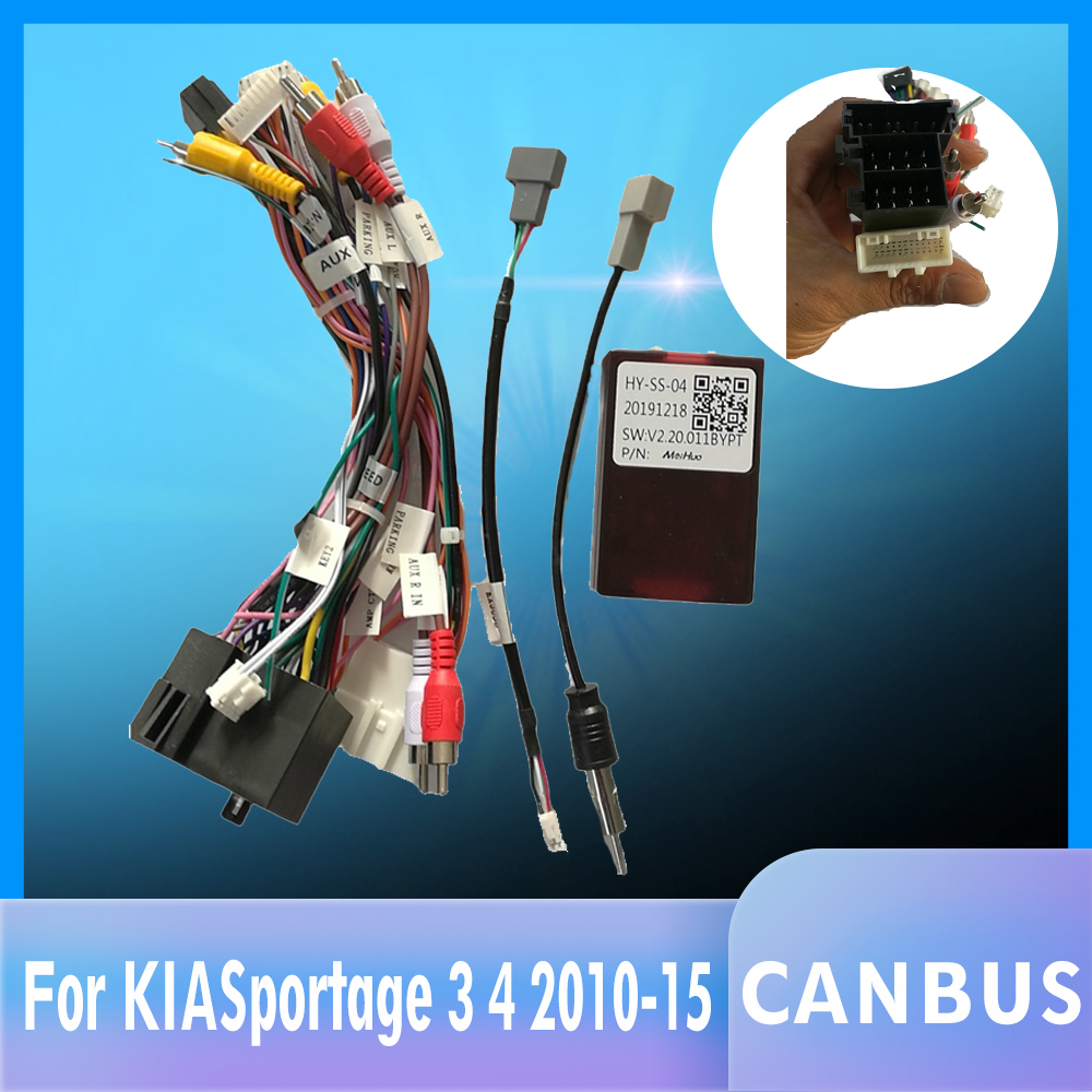 Car Stereo Radio Wire Power Harness Adapter With Canbus Decoder For KIA Sorento Sportage/Hyundai IX35 Santa Fe Verna