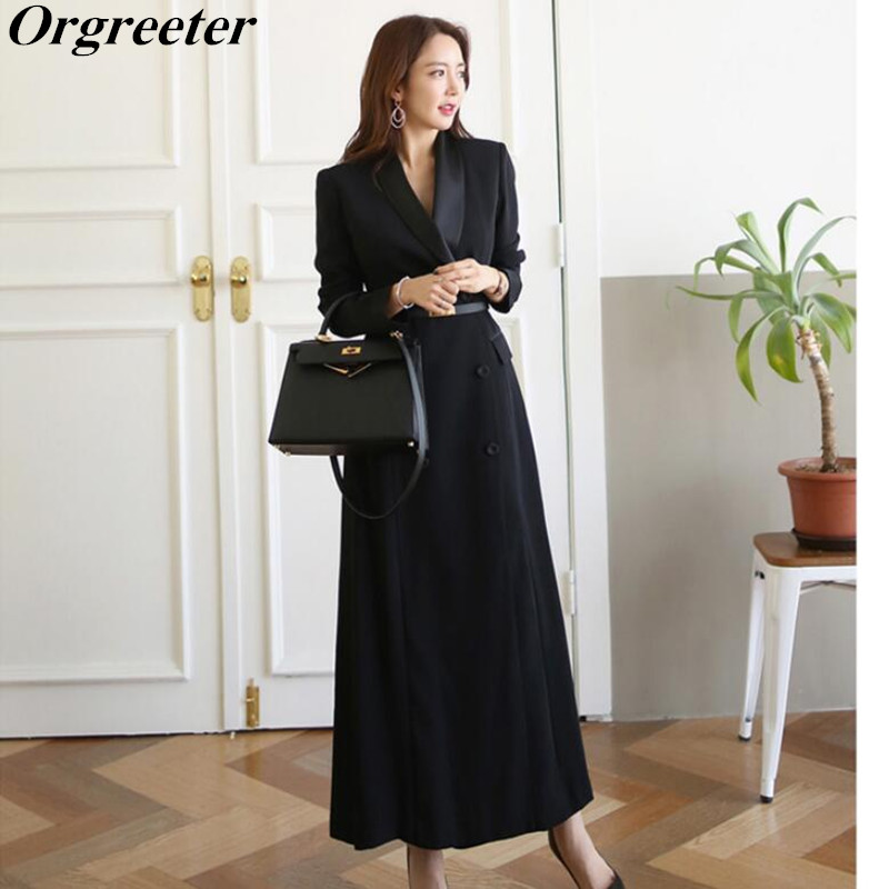 Brand new Fashion 2019 Fall Winter Casual Double breasted Simple Classic Black Notched Long   Trench   coat Chic Female windbreaker