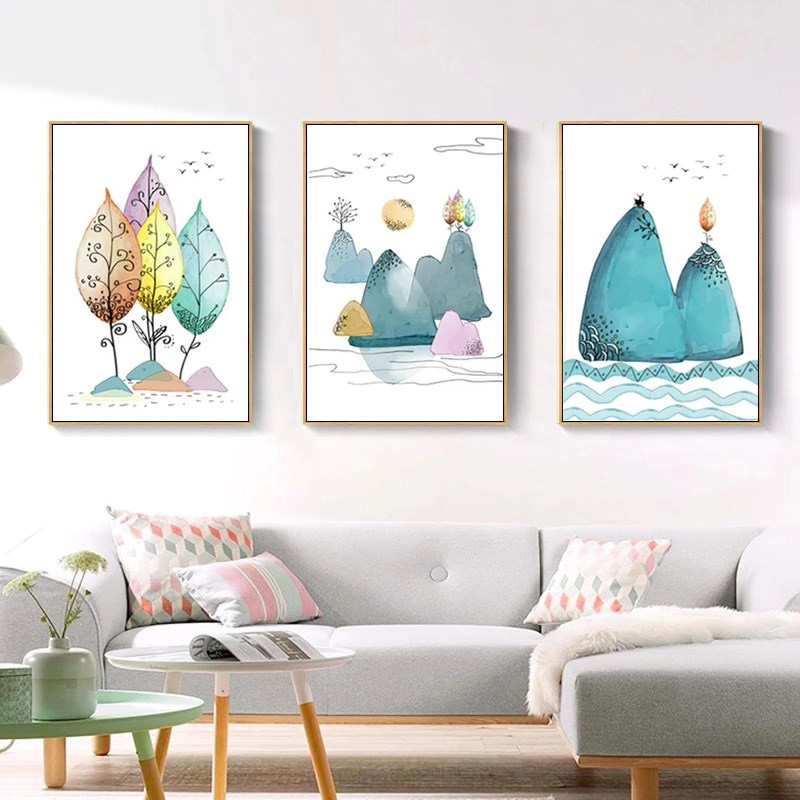Yellow Leaf Winter Sunrise Poster Yoga Abstract Nordic Art Decorative Canvas Print Painting 3 Set Wall Pictures Modern Home Decoration 35 50Cm*3