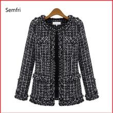 Semfri Coat Women Spring Autumn Basic Jacket Suit Black and White Female Base Pl