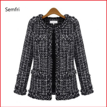 Semfri Coat Women Spring Autumn Basic Jacket Suit Black and