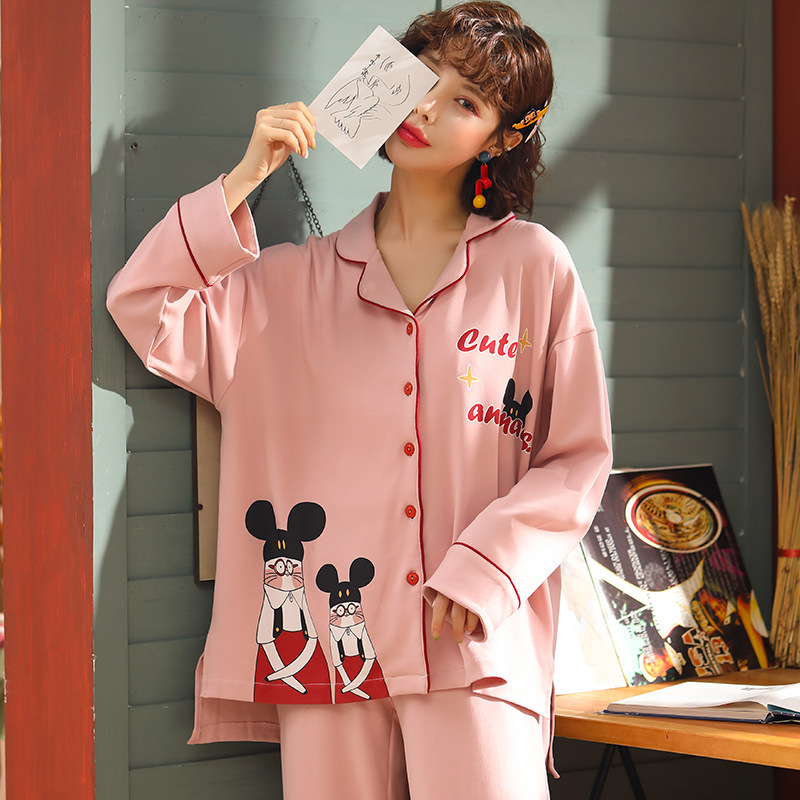 Autumn & Winter New Style Knitted Cotton Long Sleeve Trousers Pajamas WOMEN'S Cardigan Ladies Home Leisure Suit