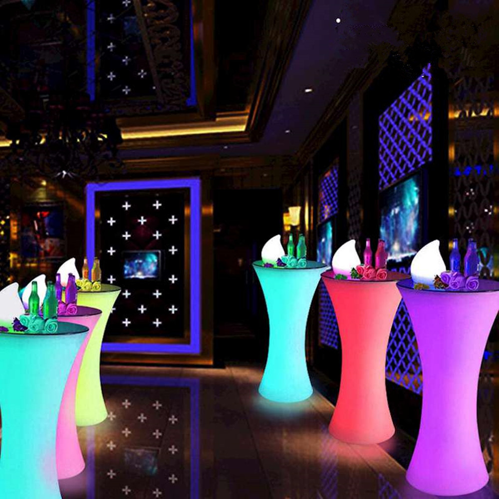 New Rechargeable LED Lighting Furniture Remote Control Outdoor LED Square Cocktail Table Bar KTV Bar Disco Furniture Supplies