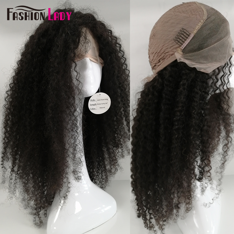 Fashion Lady Glueless Lace Front Wigs Kinky Curly Hair Pre Plucked Lace Front Human Hair Wigs Curly Hair