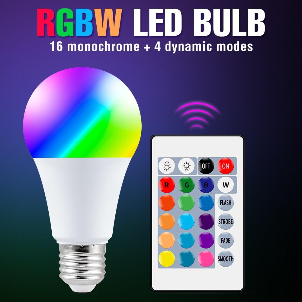 E27 Licht RGB LED Dimmen Scheinwerfer Birne 220V Magie Lampe Lampen 10W 15W LED Bunte Smart Lichter e14 Drahtlose IR Remote Ampulle