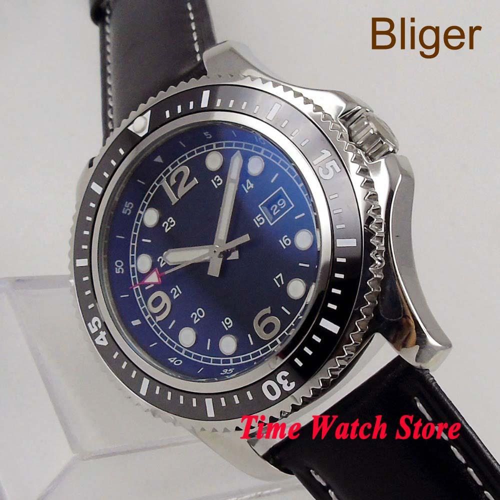 Bliger Solid 44mm no logo Miyota Automatic wrist men's watch black dial luminous date window ceramic bezel  120