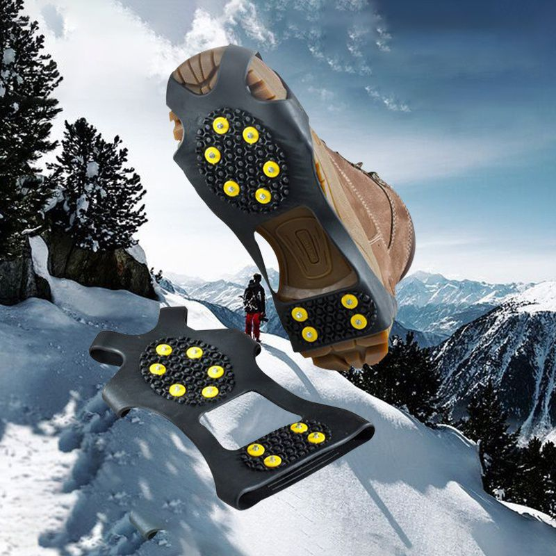 10 Studs Anti-Skid Snow Ice Mountain Climbing Shoe Spikes Grips Non-slip Crampons Cleats Overshoes Crampons Spike Shoes Crampon
