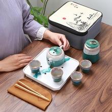 Китайский чайный набор портативный дорожный чайный набор кунг-фу керамический чайный горшок чайный набор Gaiwan, чайная чашка чайный горшок и дорожная сумка для чая Caddy кофейник