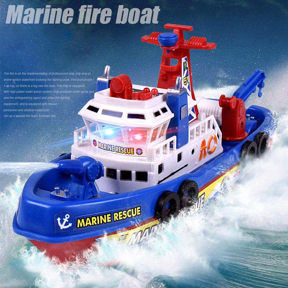 Hobbylane Kids Electric Fire Fighting Ship Model With Sound Lights Water Spraying Boat Toys As Xmas Gifts