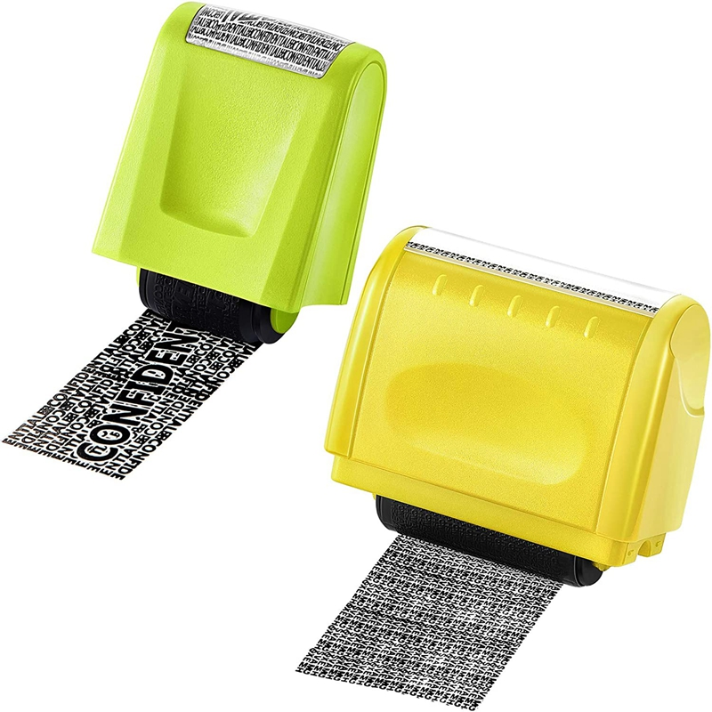 2 Pcs Identity Theft Prevention Stamp Identity Guard Roller Stamp Wide Rolling Security Stamp (Yellow and Green L and M)