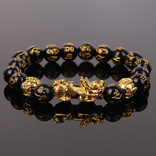 Beads Bracelet Jewelry Obsidian Good-Luck Wristband Men Gift Fengshui Wealth Chinese