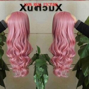 Image 4 - FAVE perruque synthétique longue vague de couleur ombrée avec raie sur le côté Sakura rose violet avec frange pour femmes