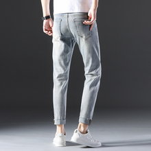 Slim Fit Ripped Jeans For Men Jeans in Regular Fit Ankle-length Denim Pants Fashion Jeans Streetwear men trousers Casual Pants new arrivals 2017 men s denim jeans mens blue holes trousers casual ankle length slim fit cross pants male cowboy feet m 5xl