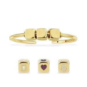 Image 1 - DIY bransoletka modna unikatowa żółta złota cyrkonia pierwsza litera cyfra Symbol kostka otwarta bransoletka mankietowa dla kobiet