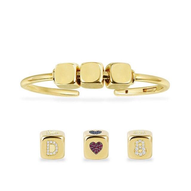 DIY bransoletka modna unikatowa żółta złota cyrkonia pierwsza litera cyfra Symbol kostka otwarta bransoletka mankietowa dla kobiet