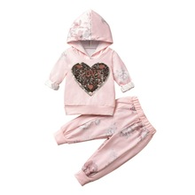 цена Autumn Winter Toddler Girl Clothes Sets hoodie Tracksuit For Girls Sport Suits Kids Clothes Outfits Children Clothing 2-4T D20 в интернет-магазинах