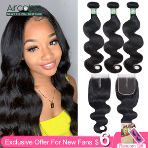 Aircabin Body Wave Bundles With Closure Brazilian Remy Human Hair Double Weft Bundles Extensions Medium Brown Swiss Lace Closure(China)