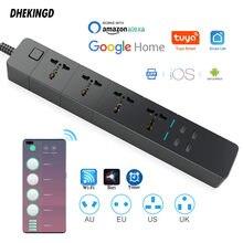 Wifi inteligente tira de energia universal funciona com alexa googlehome multi plug quatro leva 4 tomada ac 4 usb voz contro reino unido/ue/eua/au