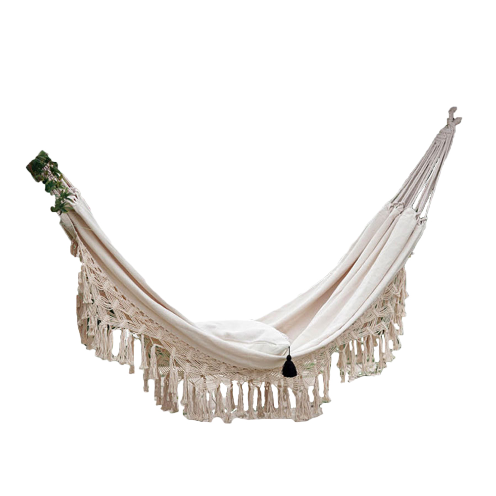 1pc Tassel Canvas Hammock Garden Tassel Swing Hammock Double People Hammock Outdoor Canvas Hammock