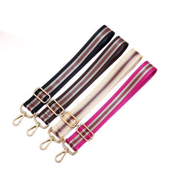 4 Colors Stripe Pattern Shoulder Strap for Women Handbag Patchwork Adjustable Obag Accessories  Fashion Style Nylon O Bag Handle