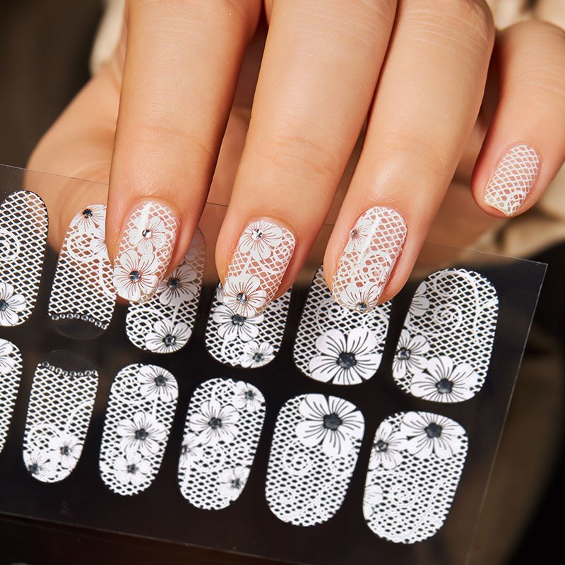 1sheet 3d Water Decals Nail Art Stickers White Lace On Nails Of Dandelions Stickers For Nails Sticker Decorations Manicure Aliexpress