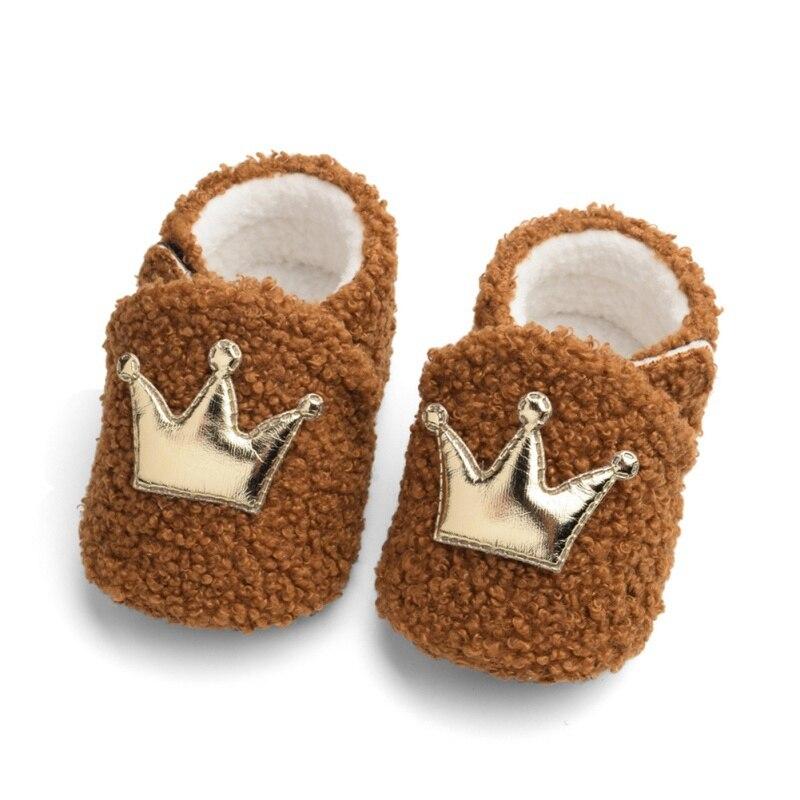 Baby Shoes Girl Boy Winter Warm Newborn First Walkers Breathable Anti-Slip Shoe Fleece Crown Toddler Soft Soled Prewalker Shoes