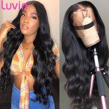 Luvin 30 34 polegada hd perucas de cabelo humano da parte dianteira do laço transparente preplucked 13x6 perucas de fechamento frontal do laço da onda do corpo brasileiro 4x4