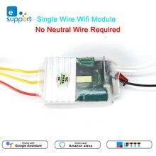 EWeLink однопроводный Wi Fi модуль 1/2/3gang RF433mhz, без нейтрального провода, не требуется, Мини DIY переключатель, Голосовое управление от Alexa