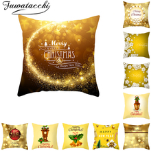 Fuwatacchi Gold Christmas Pattern Cushion Cover New Year Gift Throw Pillow Covers for Home Sofa Decorative Pillowcases 45*45cm