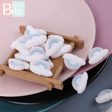 5pcs Silicone Beads Baby Teether Rainbow Cloud Tiny Rod Rode