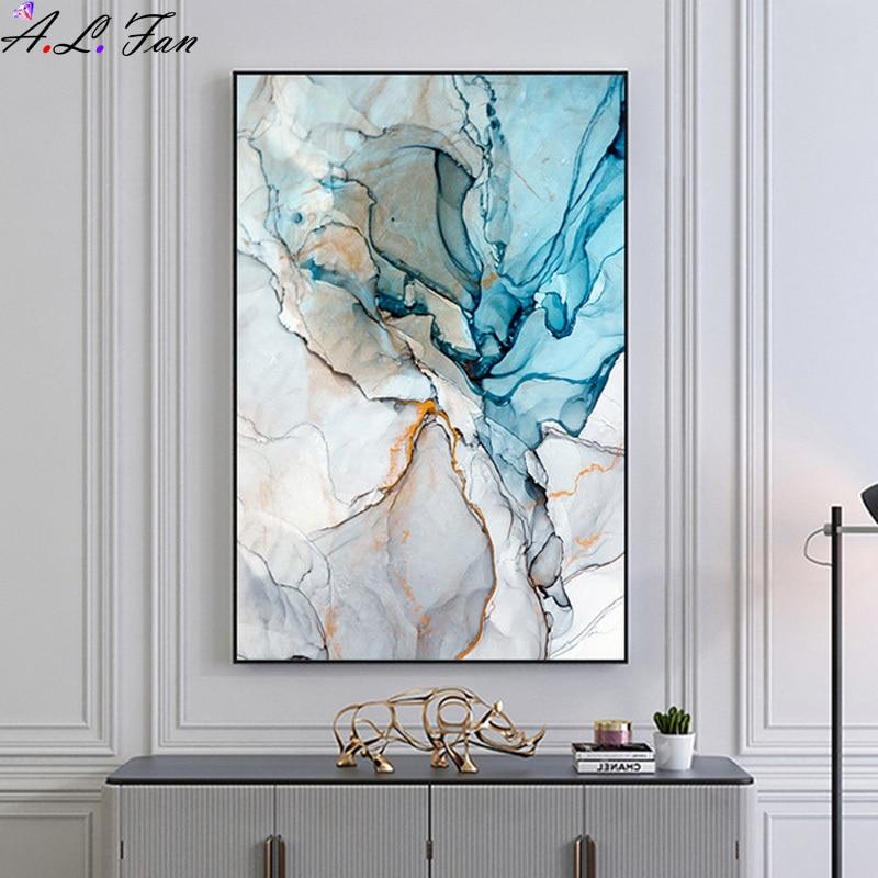 Современная Абстрактная живопись на холсте, красочная Золотая имитация мрамора, узор, скандинавский настенный плакат, печать, картина, деко...