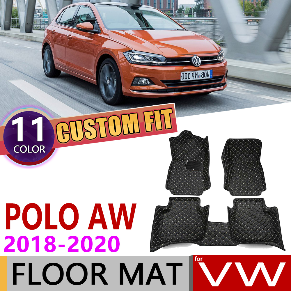 Custom Car Leather Floor Mats For Volkswagen VW Polo MK6 AW 2018 2019 2020 5 Seats Waterprool Auto Foot Pad Carpet Accessories