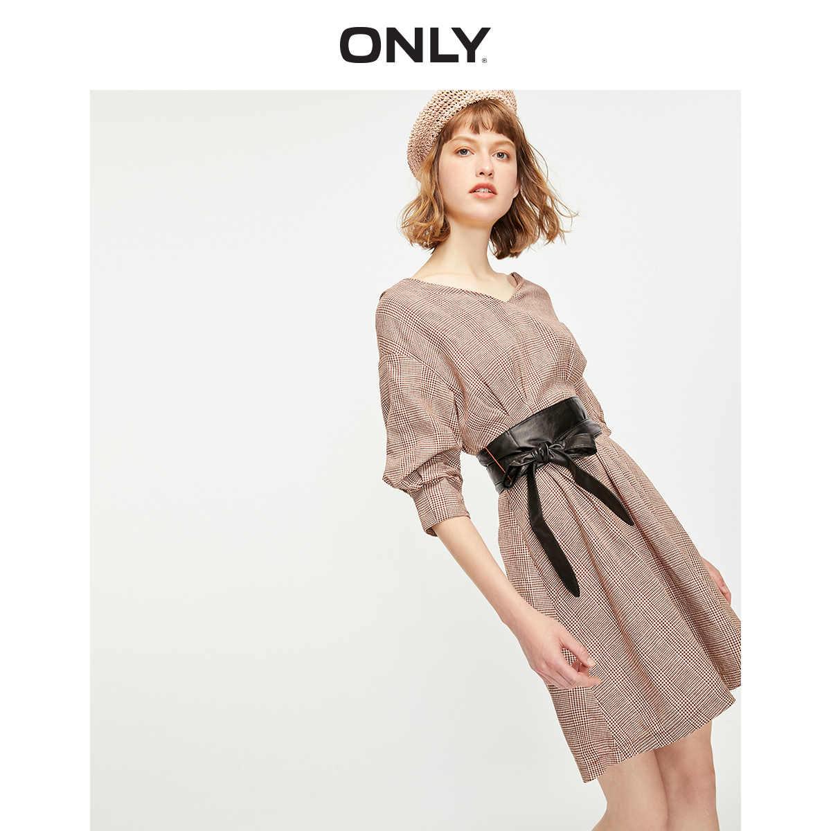 Только 2019 осень клетчатое платье с присборенной талией и подкладкой   119207581