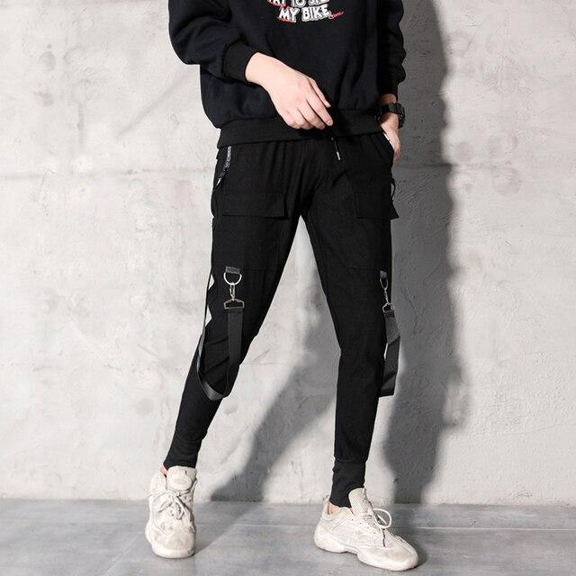 2019 Men Streetwear Pants Black Harem Pants Light Men Punk Pants Ribbons Casual Slim Jogger Pants Men Hip Hop Trousers LBZ138 33