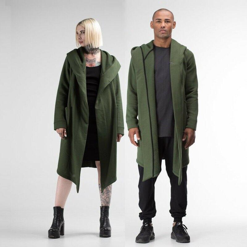 Unisex Winter Jacket Casual Open Stitch Hooded Long Cloak Cape Coat Cardigan Hoodie Jacket Women Men Pocket Coat Warm Trench Hot