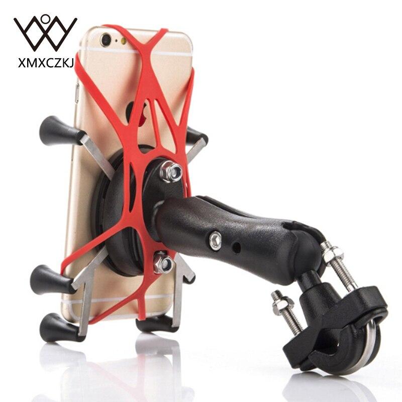 Guidão da motocicleta Mount Rail X-Grip Para Gopro Bike Mobile Mobile Phone Smartphone Holder Para iPhone 11 8 Xiaomi mi mix montagens