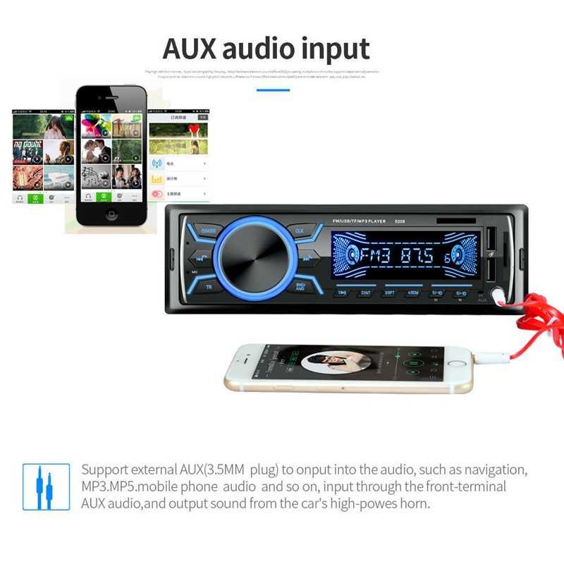Autoradio Audio Bluetooth In-Dash Fm Aux entrée récepteur Tf 2 Usb lecteur Mp3