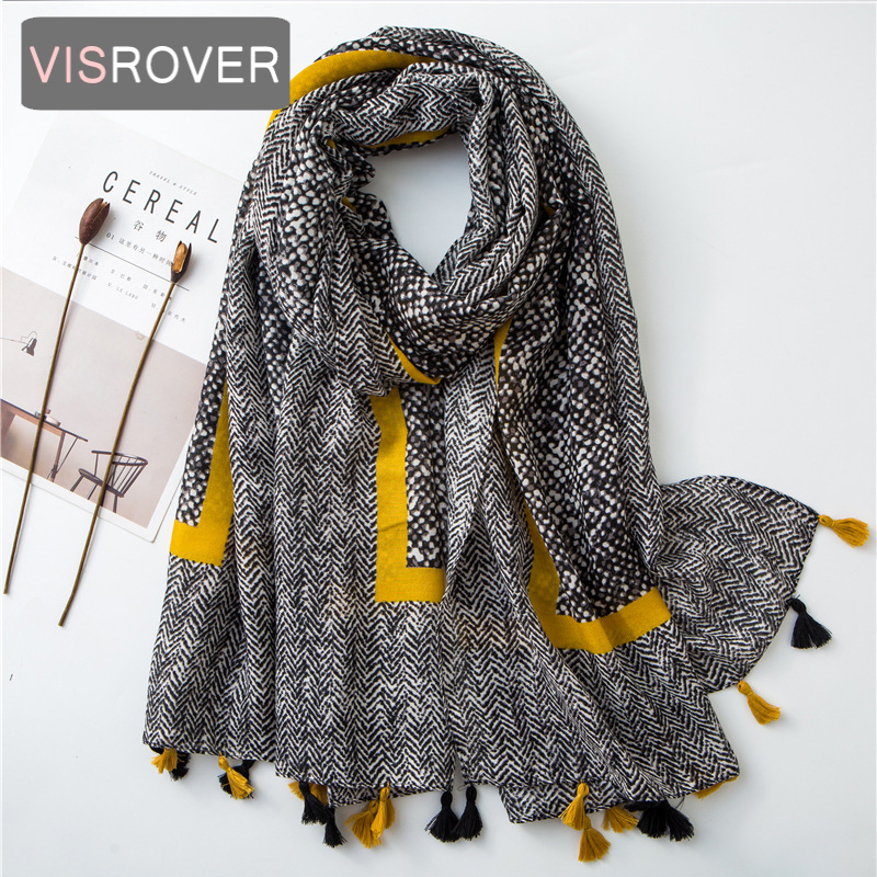 Beach Scarf Luxury Brand Viscose Big Scarf Hijab Natural Dot With Borde Print Scarf Hair Womens Scarfs Fashionable Spring Scarve